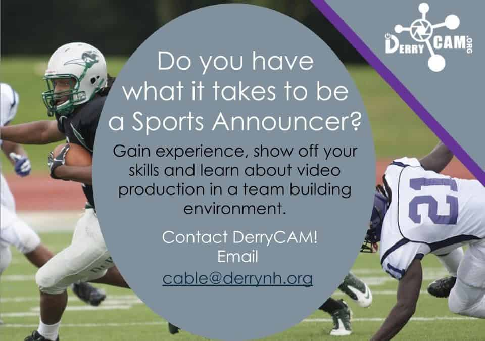SPORTS ANNOUNCER NEEDED